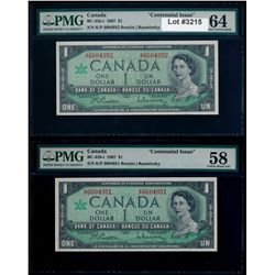 Lot of two (2) 1967 $1 Notes with Unlisted Plate Block Numbers.