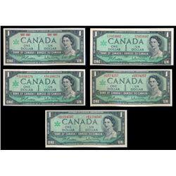 $1.00. 1967 Issue. BC-45a. 1867-1967. Beattie-Rasminsky. Unc. BC-45b.….