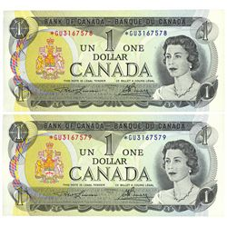 $1.00. 1973. BC-46aA. Consecutive Replacement Note Pair.
