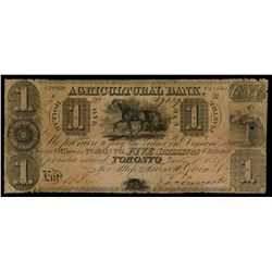 THE AGRICULTURAL BANK. (Toronto). $1.00. (5 Shillings). July 1, 1835. CH….