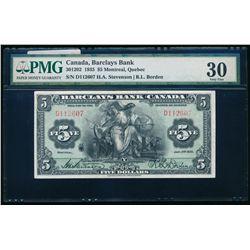 BARCALYS BANK (CANADA). $5.00. 1935. CH-30-12-02. PMG VF-30.