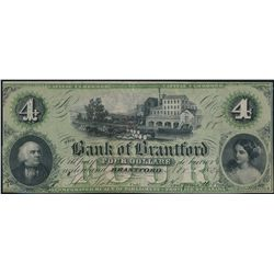 THE BANK OF BRANTFORD. $4.00. Nov. 1, 1859. Partially engraved date. Si….
