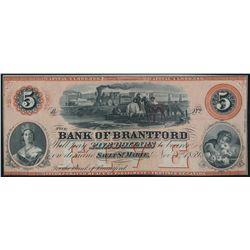 THE BANK OF BRANTFORD. $5.00. Nov. 1, 1859. CH-40-12-08R. A Remainder.….