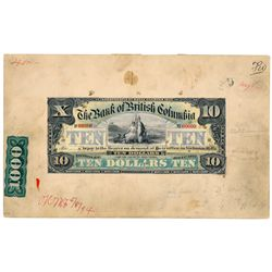 THE BANK OF BRITISH COLUMBIA. $10.00. Jan. 1, 1894. CH-50-16-04M. Paste….