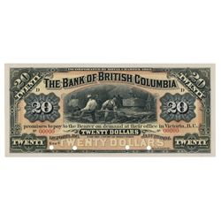 THE BANK OF BRITISH COLUMBIA. $20.00. Jan. 1, 1894. CH-50-16-06P. A ful….