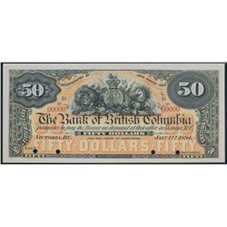 THE BANK OF BRITISH COLUMBIA. $50.00. Jan. 1, 1894. CH-50-16-08P. A ful….