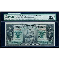 BANQUE CANADIENNE NATIONALE. $5.00. 1925. CH-85-10-02. PMG GUNC-65 EPQ.
