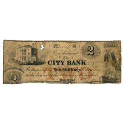 THE CITY BANK. $2.00. (10 Shillings). Dated June 3, 1850. CH-110-12-02-0….
