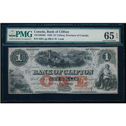 THE BANK OF CLIFTON. $1.00. 1859. CH-125-10-04-02. PMG GUNC-65 EPQ.