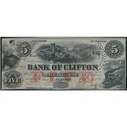THE BANK OF CLIFTON. $5.00. Oct. 1, 1859. CH-125-10-04-06. No. 8021/C.….