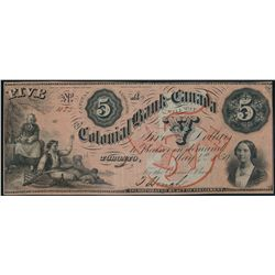 THE COLONIAL BANK OF CANADA. $5.00. May 5, 1859. CH-130-10-04-10. No. 4….