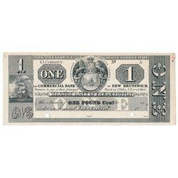 THE COMMERCIAL BANK OF NEW BRUNSWICK. St. John, New Brunswick. One Pound.….