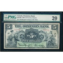 THE DOMINION BANK. $5.00. 1905. CH-220-16-10. PMG VF-20.