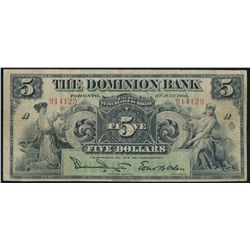 THE DOMINION BANK. $5.00. July 3, 1905. CH-220-16-10. No. 914129/A. Si….
