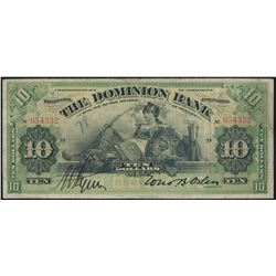 THE DOMINION BANK. $10.00. Jan. 3, 1910. CH-220-18-04. No. 054332/D. '7….