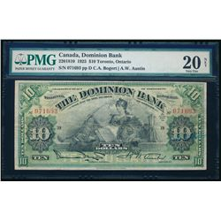 THE DOMINION BANK. $10.00. 1925. CH-220-18-10. PMG VF-20 Net.