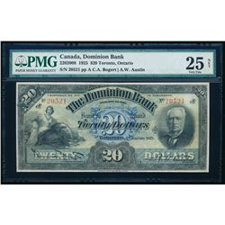 THE DOMINION BANK. $20.00. 1925. CH-220-20-08. PMG VF-25 Net.