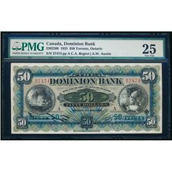 THE DOMINION BANK. $50.00. 1925. CH-220-22-08. PMG VF-25.