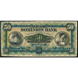 THE DOMINION BANK. $50.00. 1925. CH-220-22-08. VF-20.