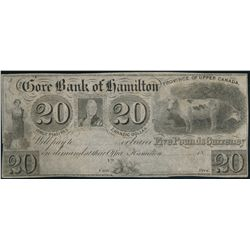 GORE BANK OF HAMILTON. $20.00. 18-- (ca. 1837). CH-325-10-04R. A Remain….