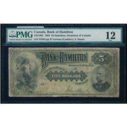 THE BANK OF HAMILTON. $5.00. 1892. CH-345-16-02. PMG F-12.