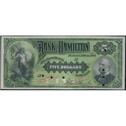 THE BANK OF HAMILTON. $5.00. June 1, 1892. CH-345-16-02S. 'Cashier' at….