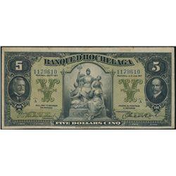 BANQUE d'HOCHELAGA. $5.00. Jan. 2, 1917. CH-360-24-02a. Blue serial num….