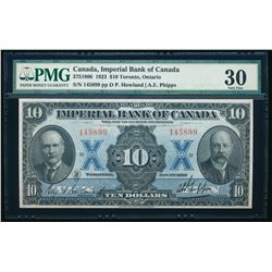 THE IMPERIAL BANK OF CANADA. $10.00. 1923. CH-375-18-06. PMG VF-30.