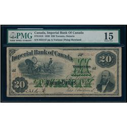 THE IMPERIAL BANK OF CANADA. $20.00. 1920. CH-375-16-18. PMG F-15.