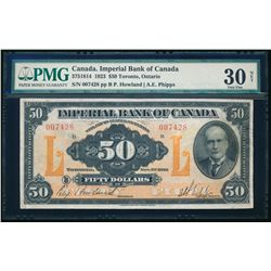 THE IMPERIAL BANK OF CANADA. $50.00. 1923. CH-375-18-14. PMG VF-30 Net.