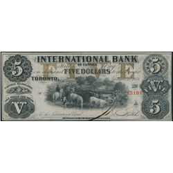 THE INTERNATIONAL BANK OF CANADA. $5.00. Sept. 15, 1858. CH-380-10-08-16….