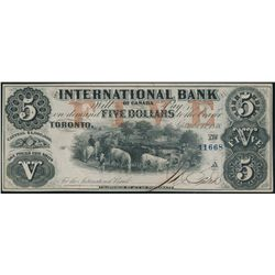 THE INTERNATIONAL BANK OF CANADA. $5.00. Sept. 15, 1858. CH-380-10-10-16….
