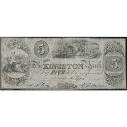 THE KINGSTON BANK. $5.00. 18--(1837 issue). CH-395-10-02. Signed W.W. R….