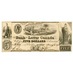 THE BANK OF LOWER CANADA. $5.00. Aug. 6, 1840. CH-410-10-10. No. 440/C.….