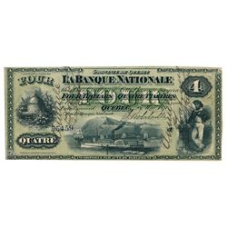 LA BANQUE NATIONALE. $4.00. 28 May, 1870. CH-510-12-02. No. 55459/A. S….