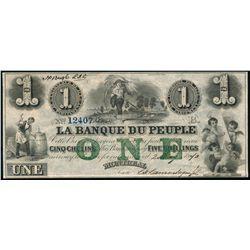 LA BANQUE DU PEUPLE. $1.00. 1870. CH-575-16-04-08R. AU-50.