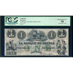 LA BANQUE DU PEUPLE. $1.00 (5s). 1870. CH-575-16-14-14R. PCGS AU-58.