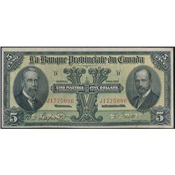 LA BANQUE PROVINCIALE du CANADA. $5.00. Jan. 31, 1919. CH-615-14-06. No….