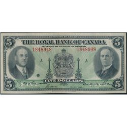 THE ROYAL BANK OF CANADA. $5.00. Jan. 2, 1935. CH-630-18-02a. No. 184894….