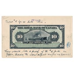 THE ROYAL BANK OF CANADA. $10.00. Jan. 2, 1912. CH-630-12-08P. An approv….