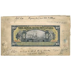THE ROYAL BANK OF CANADA. $10.00. Jan. 2, 1913. CH-630-12-08. A paste-up….