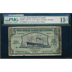 THE ROYAL BANK OF CANADA. St. George's, Grenada. $5.00. 1938. CH-630-50-02. PMG F-15 Net.