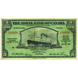 THE ROYAL BANK OF CANADA. Port of Spain, Trinidad. $5.00. 1938. CH-630-68-02. PMG VF-25.