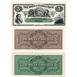 THE ROYAL CANADIAN BANK. $5.00. 18--(ca. 1865 issue). CH-635-10-02-06P.….