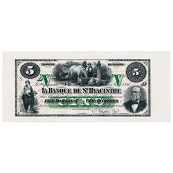 BANQUE de ST. HYACINTHE. $5.00. 1 July, 1880. CH-645-12-02P. A Face Pro….