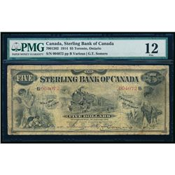THE STERLING BANK OF CANADA. $5.00. 1914. CH-700-40-72. PMG F-12.