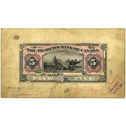 THE TRADERS BANK OF CANADA. $5.00. Nov. 1, 1910. Paste-up Models of the….