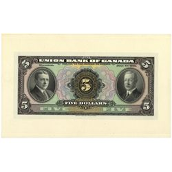 THE UNION BANK OF CANADA.  $5.00. July 1, 1921. CH-730-20-02P. A full c….