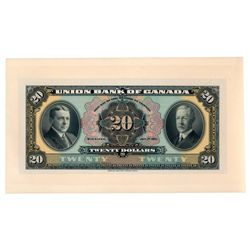 THE UNION BANK OF CANADA. $20.00. July 1, 1921. CH-730-20-06P. A full c….