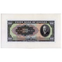 THE UNION BANK OF CANADA.  $100.00. July 1, 1921. CH-730-20-10P. A full….